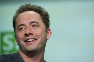 Drew Houston, chief executive officer and co-founder of Dropbox Inc., speaks at the TechCrunch Disrupt SF 2013 conference in San Francisco.