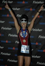 Kim Hutto of PSAV after competing  an Ironman