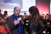 Antonio Brunet, founder and CEO of Motostalgia, being interviewed by some of the media that attending the first ever Motostalgia Auction d'Elegance held during US Grand Prix weekend at the Austin Convention Center on Saturday.