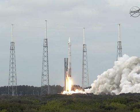 An Atlas V rocket blasts off from Cape Canaveral Air Force Station, Fla. on Nov. 18, launching the MAVEN probe toward Mars.