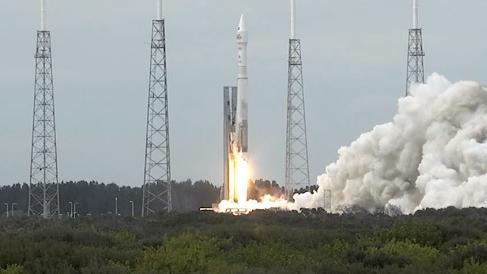 An Atlas V rocket made by United Launch Alliance blasts off from Cape Canaveral Air Force Station, Fla. launching the MAVEN probe toward Mars on Nov. 18, 2013.