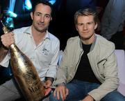 Nicholas Frankl, left, CEO of My Yacht Club Group, with F1 driver Nico Hulkenberg on Sunday night.