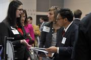 "Lauren Ansley (left) of The Employers Association and Mike Giang (right) of Holy Angels.Using the case-sensitive password ""CBJ,"" event attendees and award winners may download their photos here. Email nancy@nancypiercephoto.com with questions on that process."