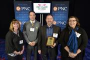 "C5 Insight team members with their No. 24 Best Places to Work award in the small company category.Using the case-sensitive password ""CBJ,"" event attendees and award winners may download their photos here. Email nancy@nancypiercephoto.com with questions on that process."