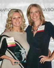 Accurate Home Care CEO Amy Nelson (left), Innovation in Healthcare Business Owner of the Year (more than $1 million in revenue), with NAWBO-MN President Heather Manley