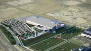 A rendering of the aerial view of the Broncos new indoor field house.