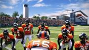 A rendering of the new Broncos field house, from the perspective of Broncos players on a current playing field.