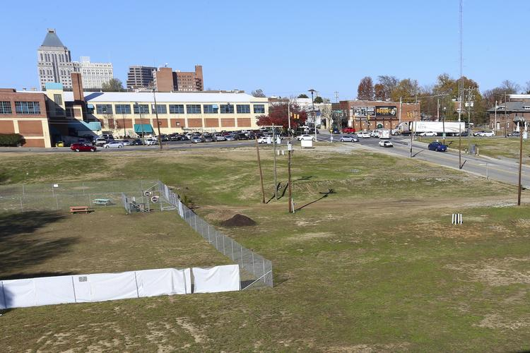 The site for a new downtown Greensboro university campus, seen here, sits along a portion of Lee Street that will be renamed Gate City Boulevard.