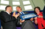 July 18, 2002: Alain Kaloyeros, left, Gov. George Pataki and University at Albany President Karen Hitchock announce a $403 million tech partnership and investment at UAlbany's growing nanotechnology center.