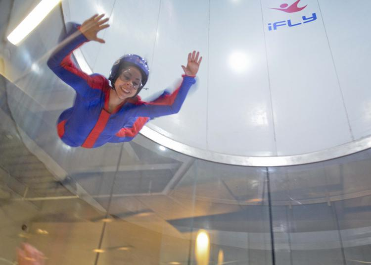 Dallas Business Journal reporter Danielle Abril flies at the new iFly facility in Frisco.