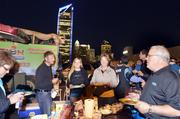 Carolina Panthers fans tailgate in uptown Charlotte prior to Monday night's game against the New England Patriots.