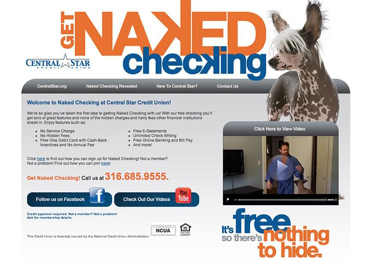 """Central Star Credit Union is marketing its """"naked checking"""" in a new campaign."""
