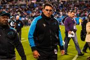 Carolina Panthers head coach Ron Rivera heads to the locker room at halftime.