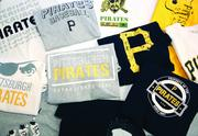 Some of the Free Shirt Friday giveaway items that will be handed out to Pirates fans attending Friday night games at PNC Park this season.