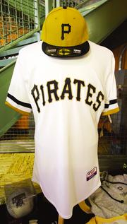 At all Sunday home games this season, the Pirates will be wearing 1970s-era pullover jerseys and mustard gold caps, available for $190 and $40, respectively, at the team's Majestic Clubhouse Store at PNC Park.