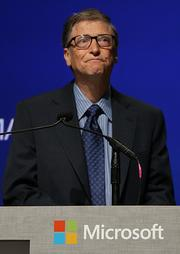 Microsoft Chairman Bill Gates gets choked up up while talking about outgoing CEO Steve Ballmer during the Microsoft shareholders meeting at the Meydenbauer Center in Bellevue.
