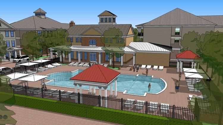 This rendering shows the planned pool area at the Veranda, Bristol Development Group's planned 236-unit apartment complex in Louisville, Ky.