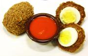 Scotch Eggs, which are hard boiled eggs wrapped in hot sausage, deep fried and served with fire sauce, are a new item offered for sale.
