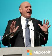 Microsoft CEO Steve Ballmer speaks during the Microsoft shareholders meeting at the Meydenbauer Center in Bellevue.