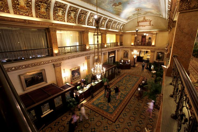 The Pfister Hotel displays classic Victorian architecture and decor.