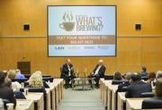 More than 100 people attended the What's Brewing event featuring James Ramsey, an economic who is president of U of L.