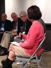 """Herb Boyer (third from left) listens to Katharine Ku, director of Stanford's Office of Technology Licensing, at the Life Sciences Foundation's """"Campus to Commerce"""" panel discussion. Also in the picture are Stanley Cohen (far left) and Niels Reimers, who established Stanford's tech licensing office."""