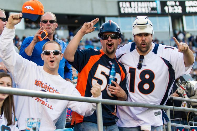 Fans of the Denver Broncos show their support.