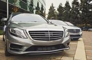 A row of Mercedes-Benz cars line the parking lot at the company's new Sunnyvale office.