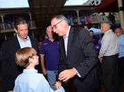 Orlando City Soccer President Phil Rawlins mingles with the crowd outside Cheyenne Saloon.