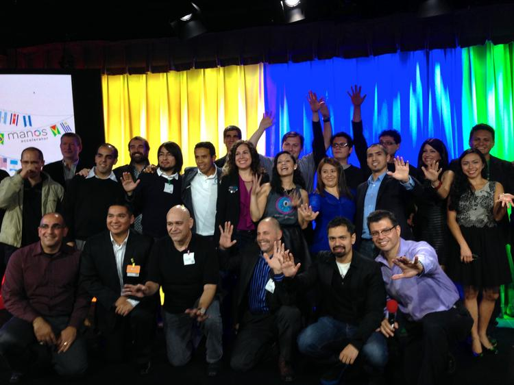 The inaugural class of the Manos Accelerator pose at Google's headquarters in Mountain View after pitching their companies to a panel of judges.