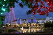 The Gaylord Texan Resort in Grapevine is brightly lighted for the holidays.