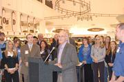 Hugh Huntington speaks at the Myers Park Harris Teeter during a ribbon-cutting ceremony Tuesday. The Huntington family has owned the Myers Park Shopping Center property since the 1890s.