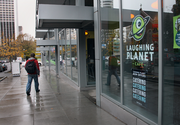 Laughing Planet Cafe, at the Cyan apartment building at Portland State University.