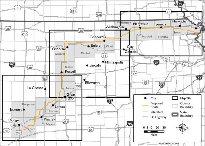 Grain Belt Express Clean Line selected a 370-mile proposed route for the transmission line in Kansas.