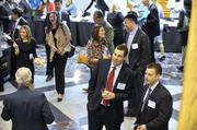 Attendees gathered in the Spirit Square lobby before the 40 Under 40 awards ceremony.