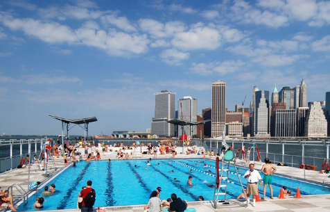 Officials in Seattle would like to put a barge pool, similar to this one in New York City, on Elliott Bay. The New York facility, called the Floating Pool Lady, was designed by Jonathan Kirschenfeld Architect PC of New York and is now part of Barretto Point Park in the Bronx.