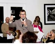 """Steve Rex, owner of Rex Cycles, gives a toast at  the """"Feast for WEAVE"""" fundraising event at Mulvaney's B&L on Nov. 16."""