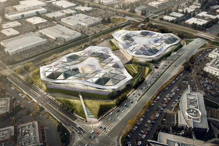 Nvidia's 1-million-square-foot campus in Santa Clara is one of the massive projects on the boards that is expected to require thousands of workers. Experts say the need for workers will get filled, but it's going to cost you. (The drawing shows two planned buildings; Nvidia plans to build only one to start.)