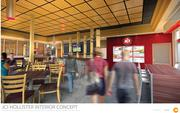 """President Darrin Straughan and James Coney Island did studies on colors, and colors that affect the palate. The new store will have more earth tones with flashes of red, green and yellow. """"It's more appetizing for restaurants and up to date with today's designs,"""" he said."""
