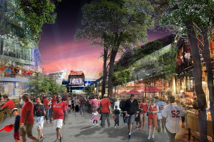 Corner view at night of the Atlanta Braves' proposed $672 million stadium complex in Cobb County.