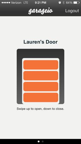 The Garageio app uses finger-swiping to control opening and closing the door, and warns if it's left open when you're away from home.