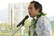 Brad Nicolai of JN Automotive Group speaks at the groundbreaking ceremony for the Symphony Honolulu mixed-use condominium project.