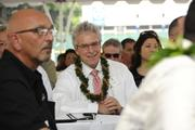 Bruce Coppa, chief of staff for Gov. Neil Abercrombie, at the groundbreaking ceremony for the Symphony Honolulu mixed-use condominium project.