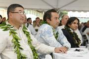 From left, Dan Nishikawa of OliverMcMillan; Brad Nicolai of JN Automotive Group and Sharmil Modi of Baupost Group at the groundbreaking ceremony for the Symphony Honolulu mixed-use condominium project.
