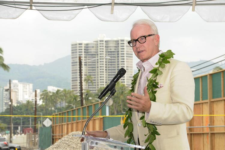 OliverMcMillan CEO Dene Oliver speaks at the groundbreaking ceremony for the Symphony Honolulu mixed-use condominium project.