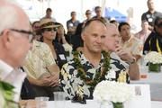 Serge Krivatsy of OliverMcMillan at the groundbreaking ceremony for the Symphony Honolulu mixed-use condominium project.