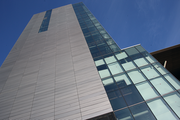 An exterior view of the northernmost building in the Collaborative Life Sciences complex.
