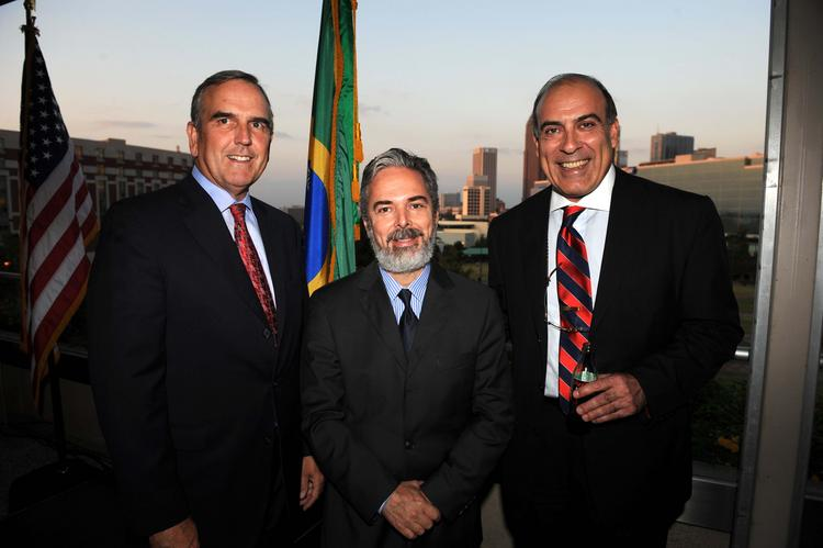 October 2008: Sam Williams, from left, with Ambassador Adalnio Ganem of Brazil and  Muhtar Kent, CEO of The Coca-Cola Co.