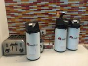 In addition to snacks, Red Hat provides plenty of coffee to its employees. There are break rooms like this on every floor.