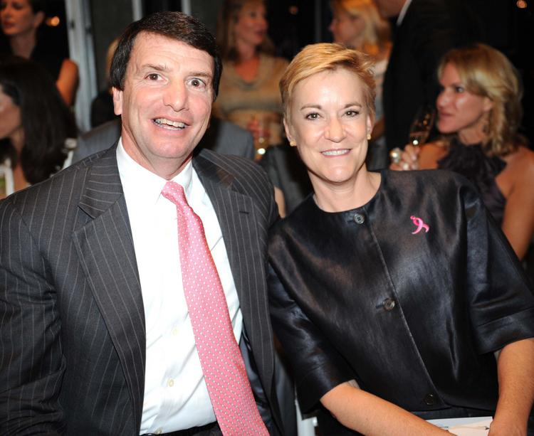September 2008: Doug Hertz, left, president and CEO of United Distributors Inc., and Hala Moddelmog, then-CEO of Susan G. Komen for the Cure.